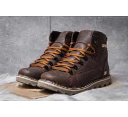 Мужские ботинки на меху CAT темно-коричневые