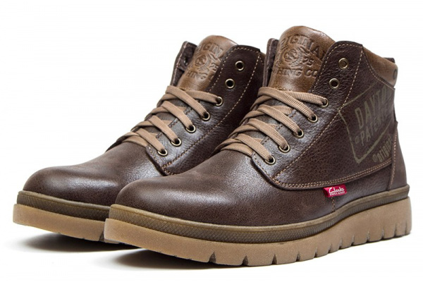 Мужские ботинки на меху Clarks коричневые