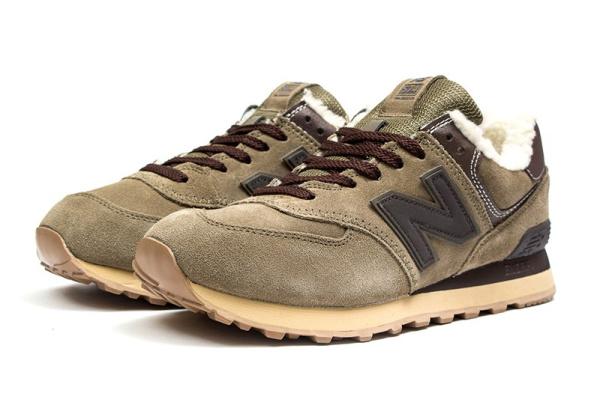 Мужские кроссовки на меху New Balance 574 Fur светло-коричневые