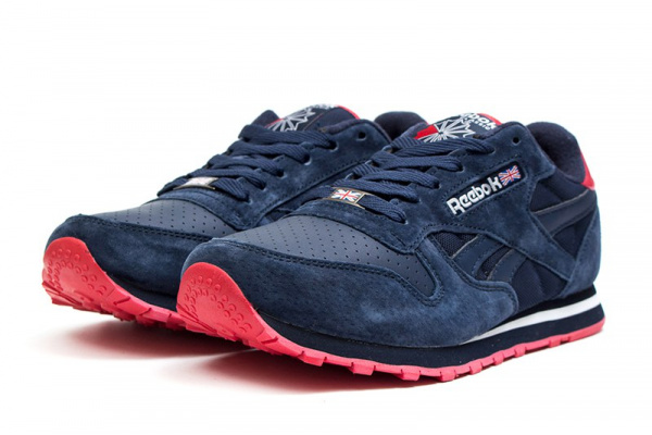 Мужские кроссовки Reebok Classic Leather темно-синие с красным