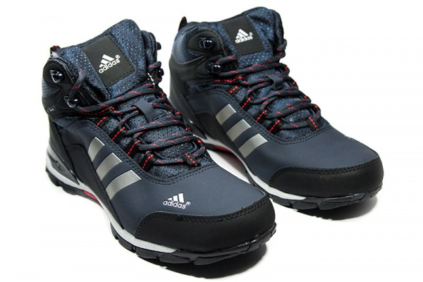 Мужские высокие кроссовки на меху Adidas Climaproof High темно-синие