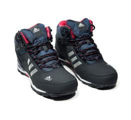 Мужские высокие кроссовки на меху Adidas Climaproof High темно-синие с красным