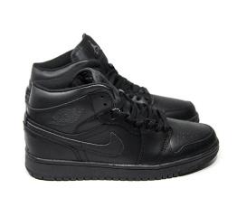 Мужские высокие кроссовки на меху Nike Air Jordan 1 Retro High черные