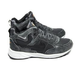 Мужские высокие кроссовки на меху Nike Air серые