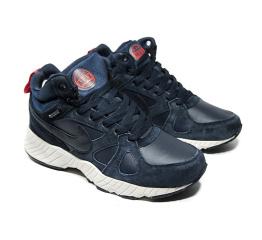 Мужские высокие кроссовки на меху Nike Air темно-синие
