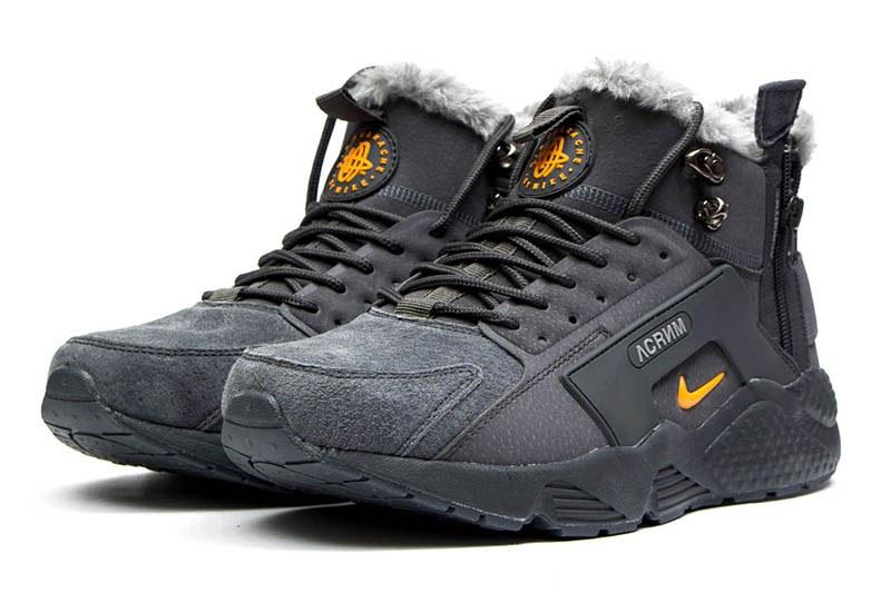 wholesale dealer fa5d0 5eb5c Мужские высокие кроссовки на меху Nike Huarache х Acronym City Mid серые с  оранжевым