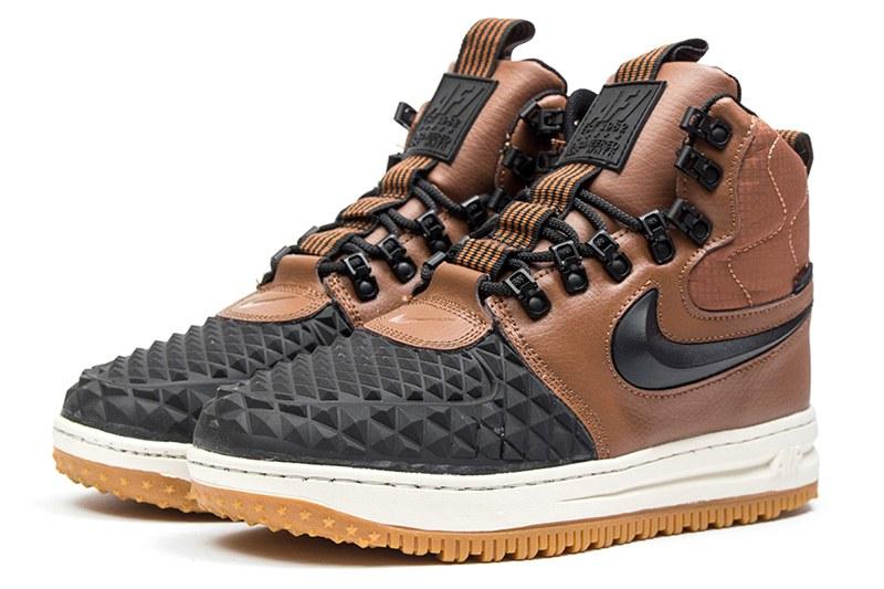 c9f4e355 Мужские высокие кроссовки на меху Nike Lunar Force 1 Duckboot '17 коричневые