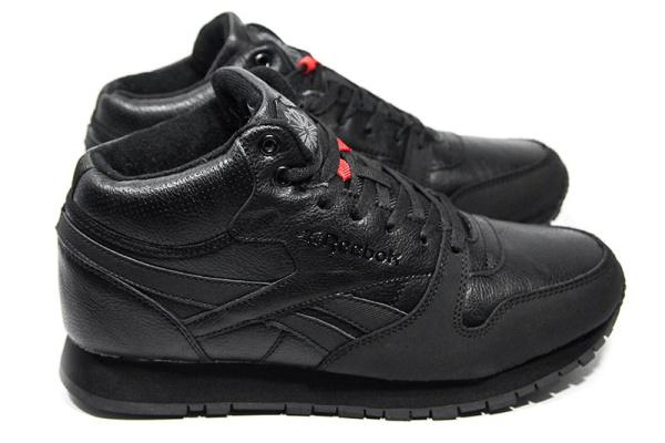 Мужские высокие кроссовки на меху Reebok Classic Leather Mid черные