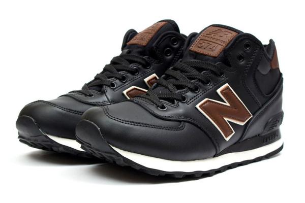 Мужские высокие кроссовки New Balance 574 Mid-Cut черные с коричневым