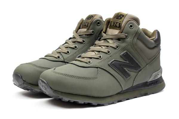 Мужские высокие кроссовки на меху New Balance 574 Mid-Cut Fur хаки
