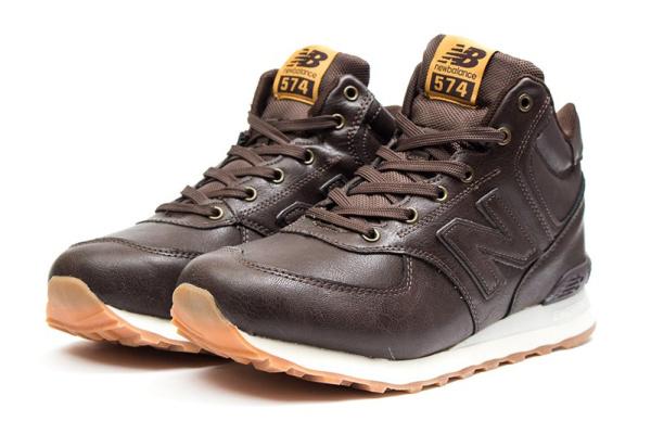 Мужские высокие кроссовки на меху New Balance 574 Mid-Cut Fur коричневые