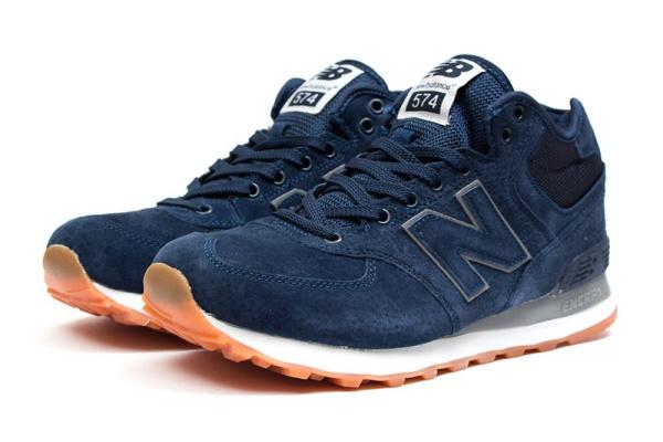 Мужские высокие кроссовки New Balance 574 Mid-Cut темно-синие