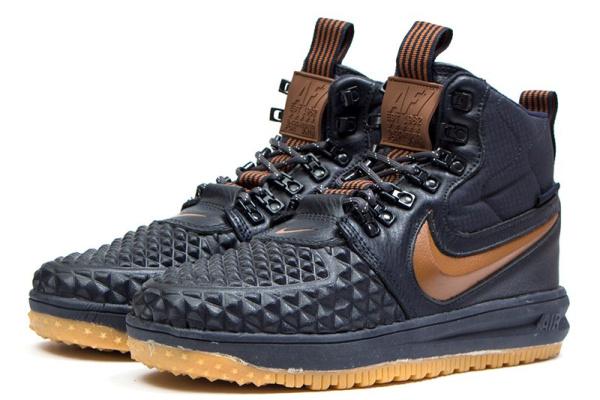 Мужские высокие кроссовки Nike Lunar Force 1 Duckboot '17 Thermo темно-синие с коричневым