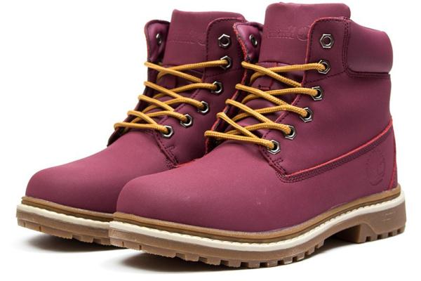 Женские ботинки на меху бордовые