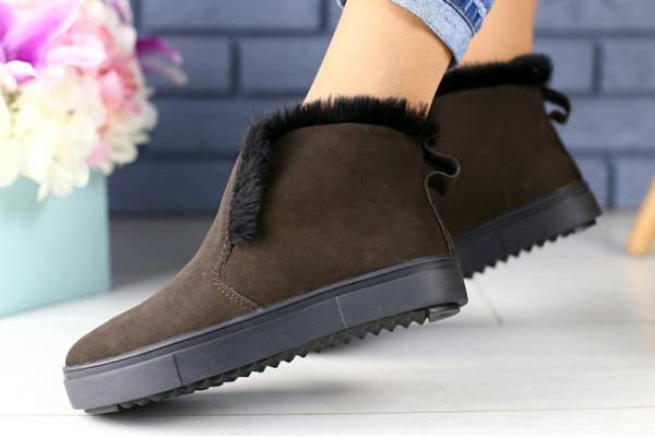 Женские ботинки на меху коричневые