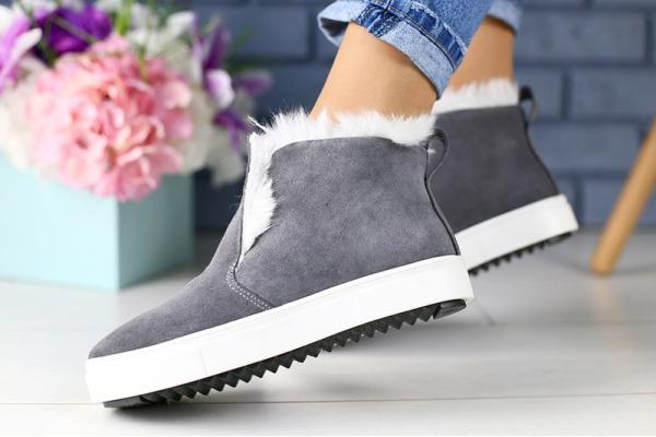 Женские ботинки на меху серые