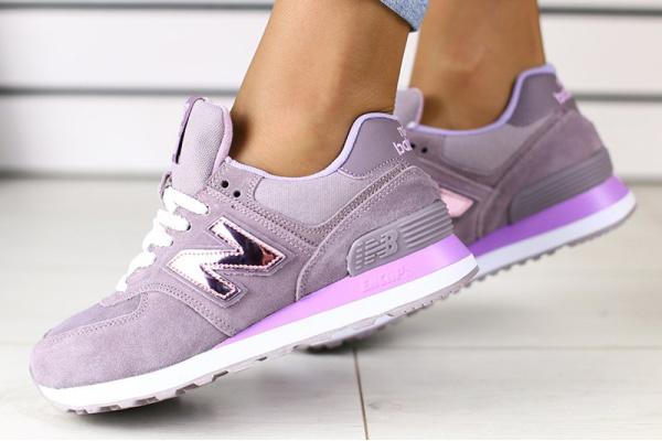 Женские кроссовки New Balance 574 фиолетовые
