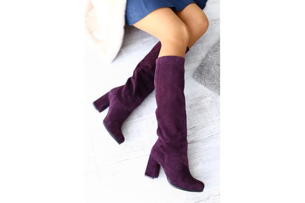 Женские сапоги на меху фиолетовые