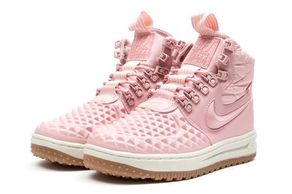 Женские высокие кроссовки на межу Nike Lunar Force 1 Duckboot '17 розовые