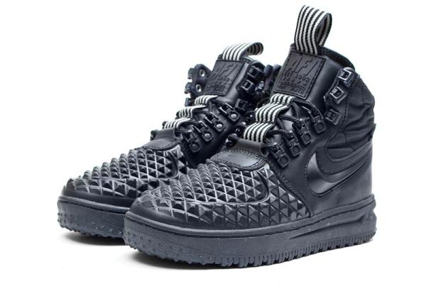 Женские высокие кроссовки на межу Nike Lunar Force 1 Duckboot '17 темно-синие