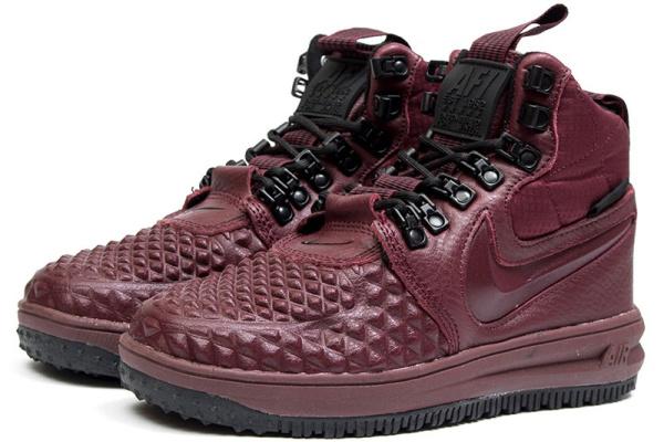 Женские высокие кроссовки Nike Lunar Force 1 Duckboot '17 Thermo бордовые
