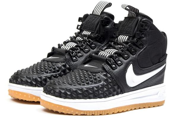 Женские высокие кроссовки Nike Lunar Force 1 Duckboot '17 Thermo черные с белым