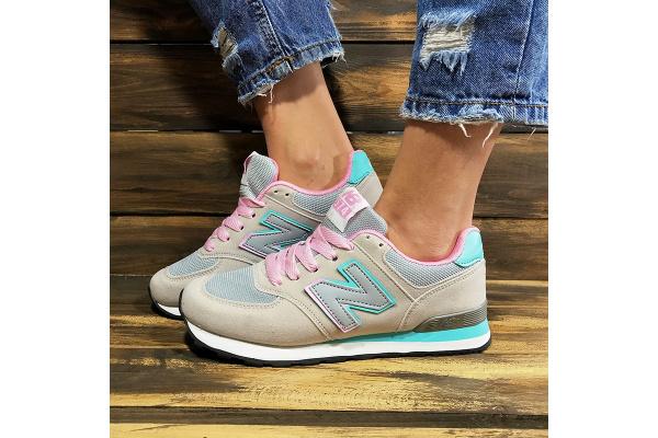 Женские кроссовки New Balance 574 бежевые с розовым и бирюзовым