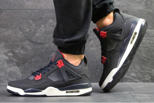 Мужские кроссовки Nike Air Jordan 4 Retro темно-синие с красным