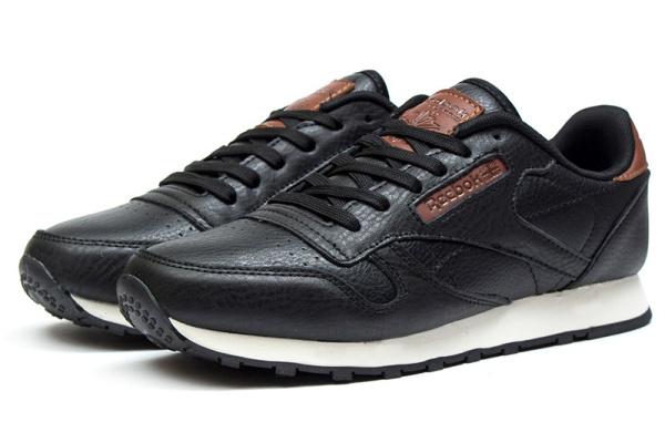 Мужские кроссовки Reebok Classic Leather черные с коричневым