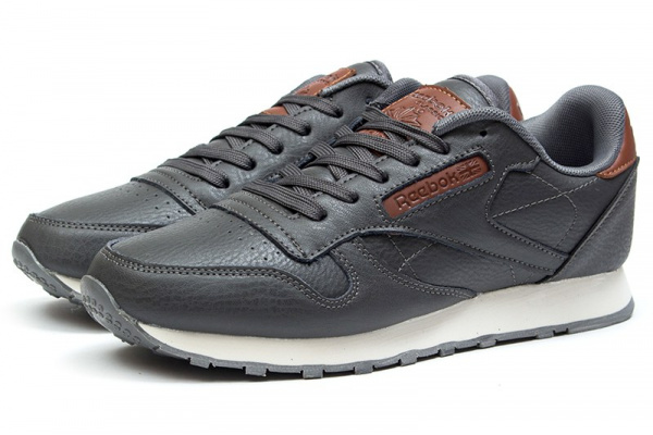 Мужские кроссовки Reebok Classic Leather темно-серые