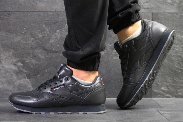 Мужские кроссовки Reebok Classic Leather темно-синие