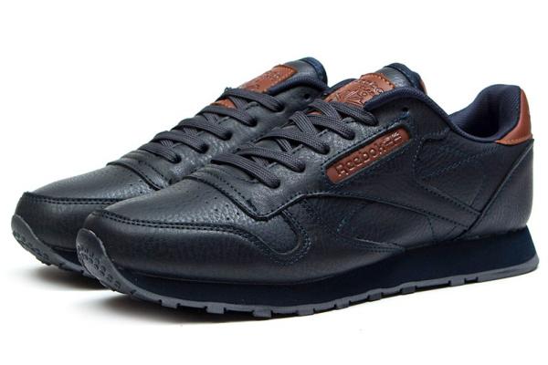 Мужские кроссовки Reebok Classic Leather темно-синие с коричневым