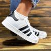 Женские кроссовки Adidas Superstar белые с черным