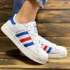Женские кроссовки Adidas Superstar белые с красным и синим