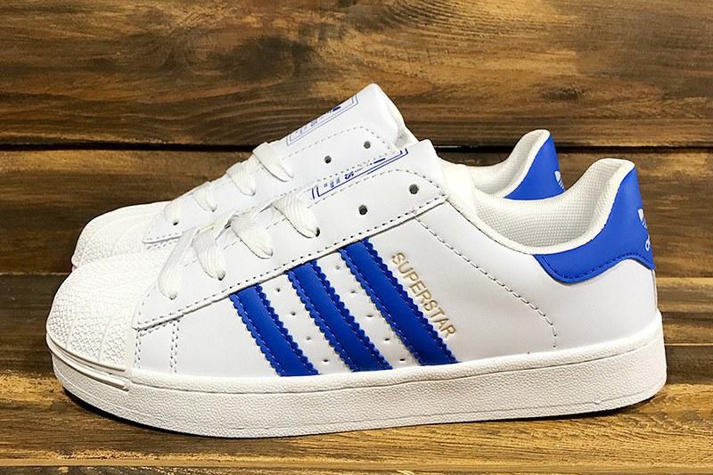 9608e9a7f Adidas (Адидас) кроссовки Superstar белые с синим купить | ASPOLO
