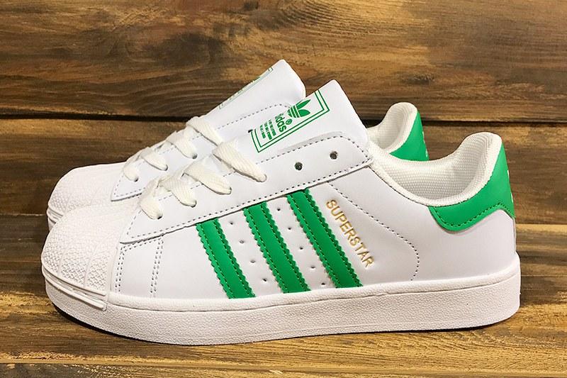 24d4f334b Adidas (Адидас) кроссовки Superstar белые с зеленым купить | ASPOLO
