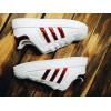 Женские кроссовки Adidas Superstar Iridescent белые с красным