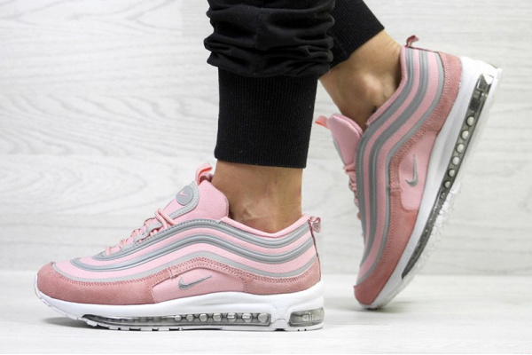 Женские кроссовки Nike Air Max 97 розовые с серым