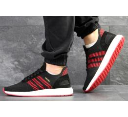 Купить Мужские кроссовки Adidas Iniki Runner Boost Primeknit черные с красным