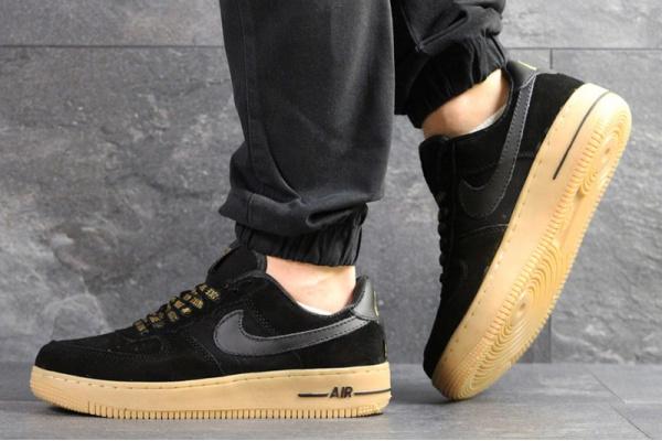 Мужские кроссовки Nike Air Force 1 Low NBA черные с бежевым