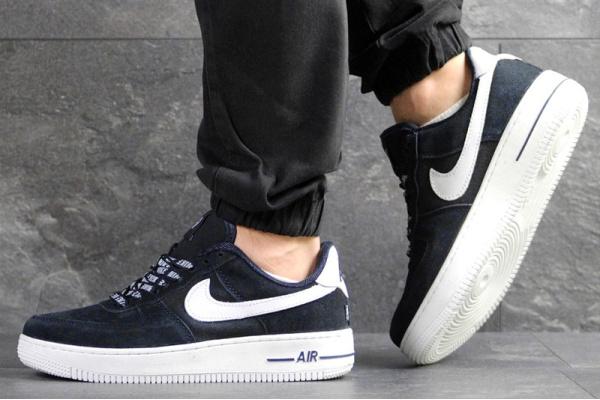 Мужские кроссовки Nike Air Force 1 Low NBA темно-синие с белым