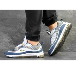 Купить Мужские кроссовки Nike Air Max 98 серые с белым и синим