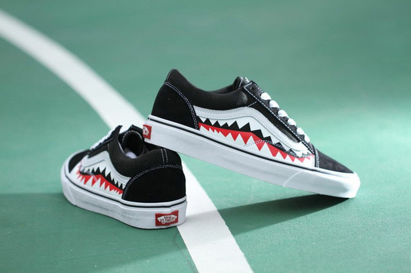 vans old scool x bape shark teeth