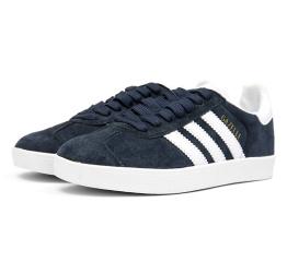 Женские кроссовки Adidas Gazelle темно-синие с белым