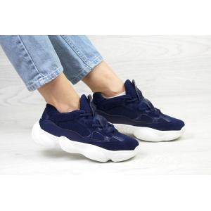 Женские кроссовки Adidas Yeezy 500 темно-синие