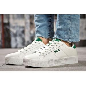 Женские кроссовки Fila Creeper белые с зеленым