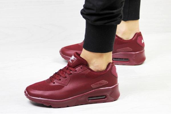 Женские кроссовки Nike Air Max 90 Hyperfuse бордовые