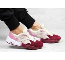 Купить Женские кроссовки Puma Trinomic R698 розовые с бордовым и бежевым