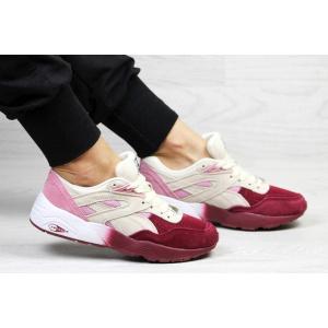 Женские кроссовки Puma Trinomic R698 розовые с бордовым и бежевым