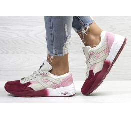 Купить Женские кроссовки Puma Trinomic R698 розовые с бордовым и бежевым в Украине